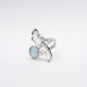 Aquamarine x White Quartz ring